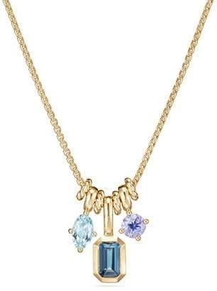 David Yurman Novella Pendant Necklace in 18k Yellow Gold with Topaz & Aquamarine