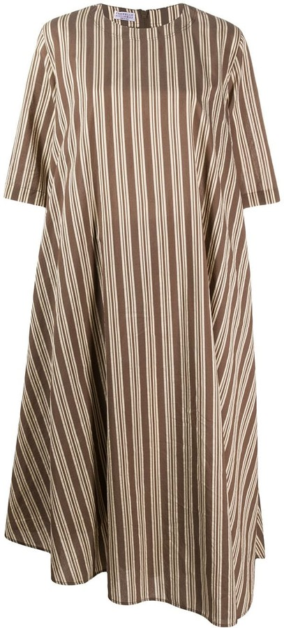 Brunello Cucinelli Striped Shift Midi Dress