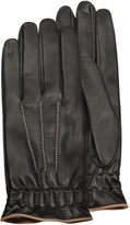 Forzieri Men's Black Cashmere Lined Calf Leather Gloves