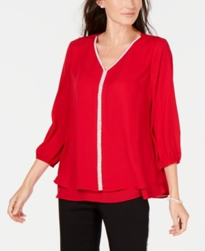 JM Collection Petite Layered-Look Embellished Top, Created for Macy's