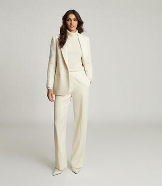 Reiss Luisa - Wide Leg Tailored Trousers in Cream