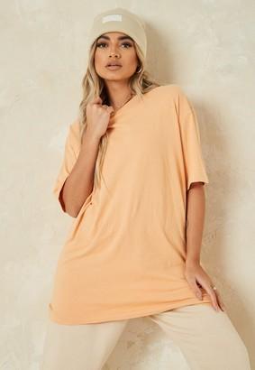 Missguided Orange Washed Oversized T Shirt