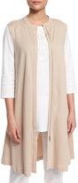 Joan Vass Easy Luxe Pima Cotton Long Zip-Front Vest