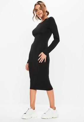 Missguided Petite Black Bodycon Long Sleeve Midi Dress