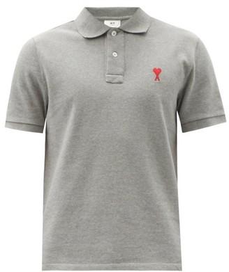 Ami Logo-embroidered Cotton-pique Polo Shirt - Grey