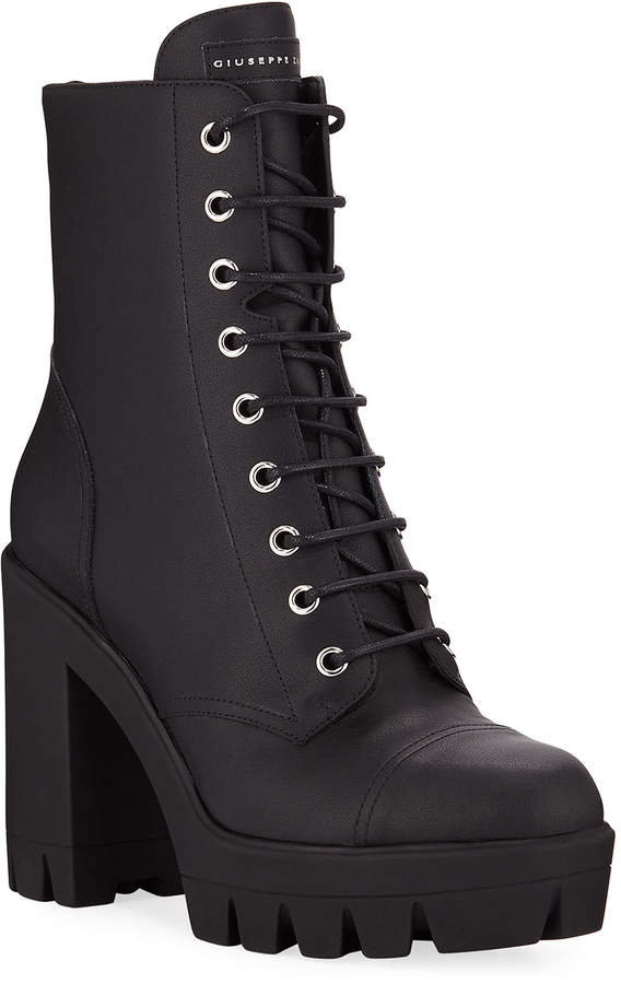 a078018d56e Leather Block-Heel Combat Boots