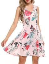 ACEVOG Summer Beach Casual Flared Floral Tank Dress for Women