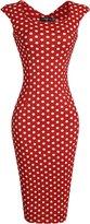 jeansian Women's Vintage Sleeveless Plaid & Polka Dots Bodycon Dress WKD277 M