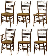 Rejuvenation Set of 6 Rare Federal Painted Fancy Chairs