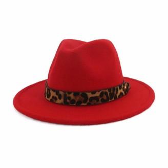 Aisoway Classic Jazz Cap Retro Wide Fedora Brim Panama Caps with Leopard Strap Red