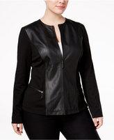Alfani Plus Size Mixed-Media Moto Jacket, Only at Macy's