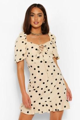 boohoo Polka Dot Puff Sleeve Frill Hem Midi Dress