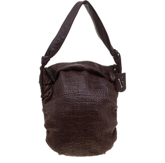 Furla Brown Crocodile Embossed Leather Hobo Bag