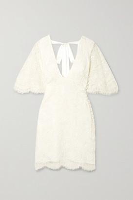 Les Rêveries Open-back Corded Lace Mini Dress - Ivory