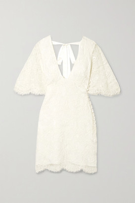 Les Rêveries Open-back Corded Lace Mini Dress - Ivory