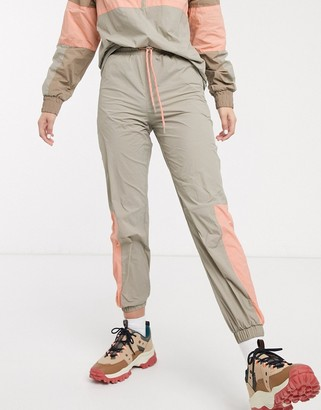 Monki joggers with contrast piping in beige