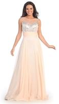 Elizabeth K - Sequined Bateau Neck A-Line Gown GL2014
