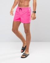 Asos Swim Shorts In Neon Pink Short Length