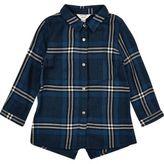 River Island Mini girls blue check longline shirt