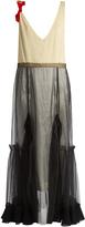 Toga Tulle-overlay V-neck twill dress
