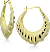 Giani Bernini Decorative Puff Hoop Earrings in 18k Gold-Plated Sterling Silver, Only at Macy's