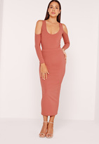 Missguided Ribbed Midi Skirt Rose Pink
