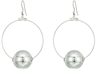 Kenneth Jay Lane Silver Hoop with 20mm Polished Silver Ball Fishhook Ear Earrings (Polished Silver) Earring
