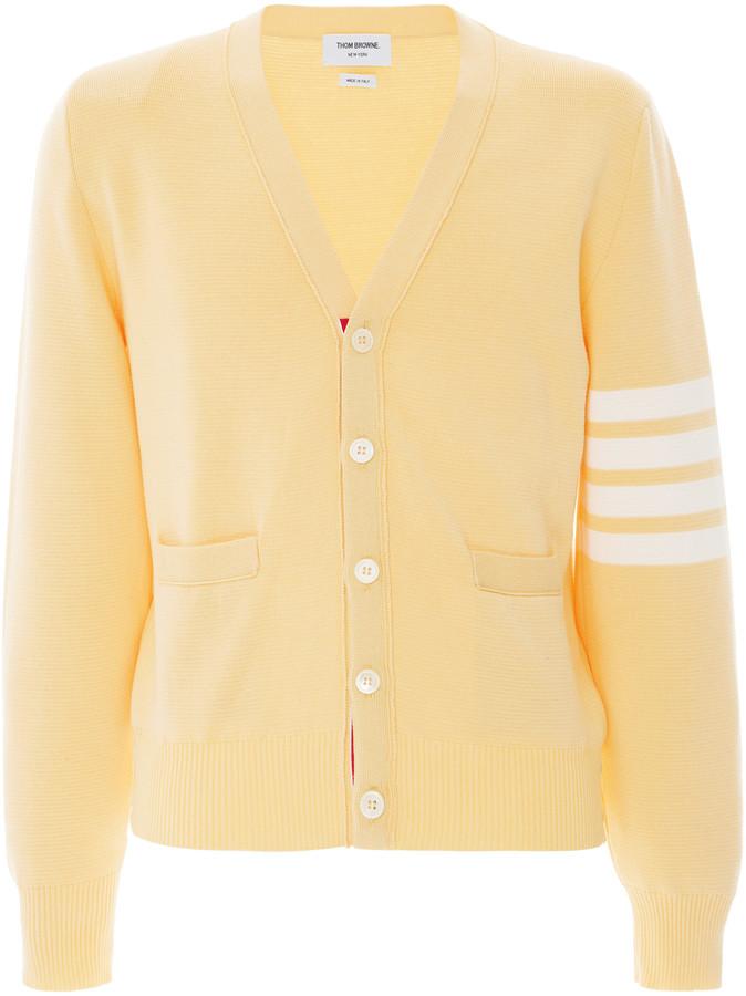 Thom Browne Four-Striped Cotton Cardigan Sweater