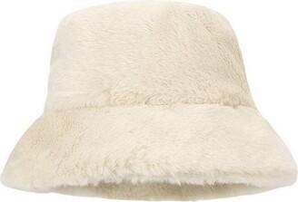 Licus Women Winter Plush Bucket Hat Warm Solid Color Faux Fur Fisherman Cap White