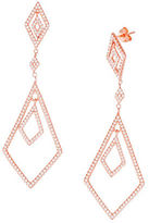 Lord & Taylor Geometric Cubic Zirconia and 18K Rose Gold Drop Earrings