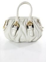 Badgley Mischka Ivory Leather Gold Tone Gold Tone Mini Satchel Handbag