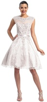 Sue Wong Cap sleeved Jewel Neck A-Line Dress N5212