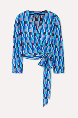 Lhd LHD - Odalys Printed Silk Crepe De Chine Wrap Blouse - Blue