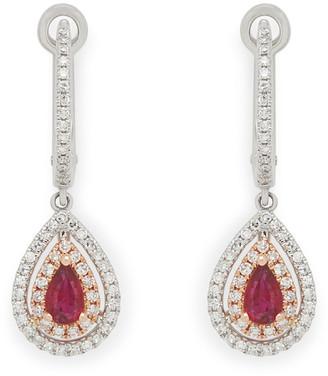 Effy Fine Jewelry 14K Two-Tone 0.87 Ct. Tw. Diamond & Ruby Earrings