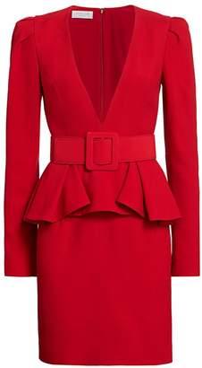 Michael Kors Plunge-Front Belted Peplum Dress