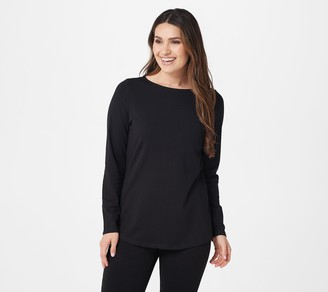 Denim & Co. Essentials Anywear Jersey Boatneck Top w/ Curved Hem