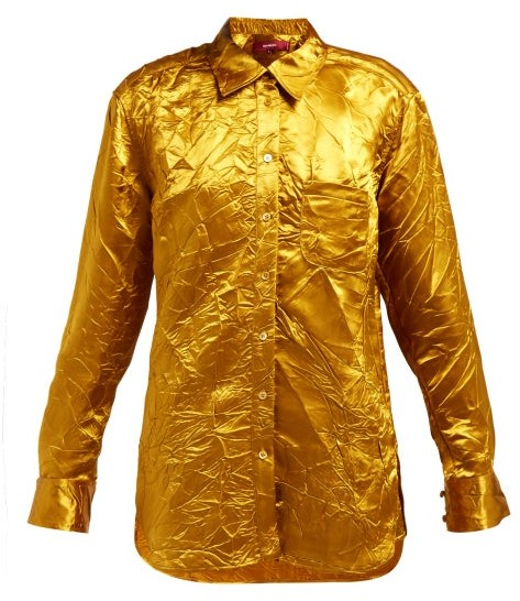 Sies Marjan Sander Crinkled Satin Shirt - Womens - Gold