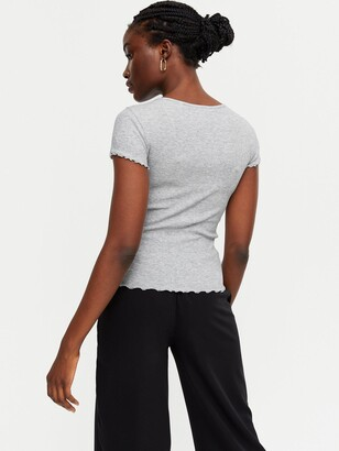 New Look 3 Pack Grey Black and White Ribbed Frill T-Shirts