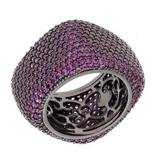 ELEGANT CONFETTI Women's 18K Black Gold Plated Pink CZ Simulated Diamond Pave Chunky Statement Ring Size 8