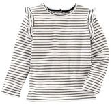 Osh Kosh Long Sleeve Sparkle Stripe Ruffle T-Shirt in White/Navy