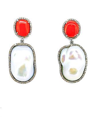 Arthur Marder Fine Jewelry Silver 1.25 Ct. Tw. Diamond, Coral, & Pearl Earrings