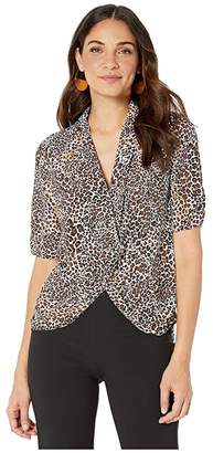 1 STATE 1.STATE Animal Beats Cinched Sleeve Twist Front Blouse (Burnt Carmel Multi) Women's Blouse