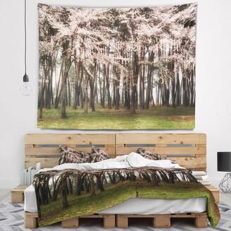 Design Art Designart 'Cherry Blossoms in Pine Tree' Landscape Wall Tapestry