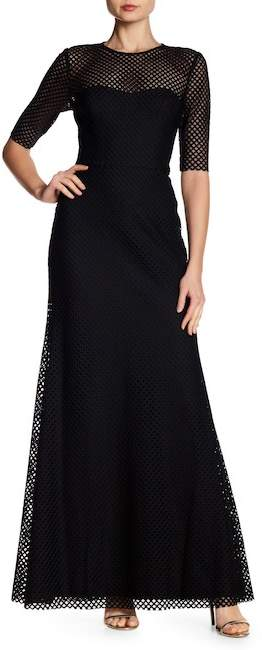 Vera Wang Elbow Sleeve Geo Lace Gown