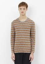 Lanvin grey / light brown stripes jacquard crew neck