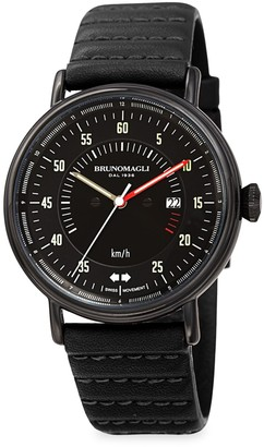 Bruno Magli Alex 1361 Stainless Steel & Leather-Strap Analog Watch