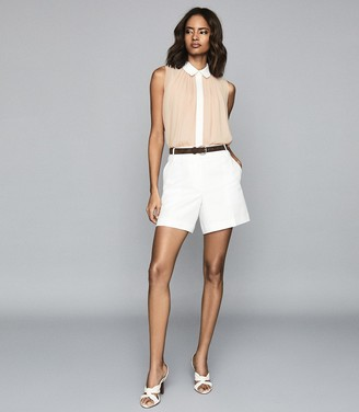 Reiss ALVA GATHER DETAILED SLEEVELESS BLOUSE Nude