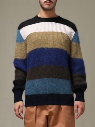 Marni Crew Neck Sweater With Multicolor Bands
