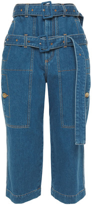 Lanvin Cropped Belted High-rise Straight-leg Jeans