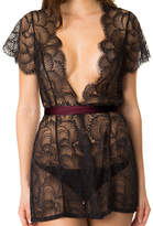 Lace Bed Jacket with Charmeuse Sash